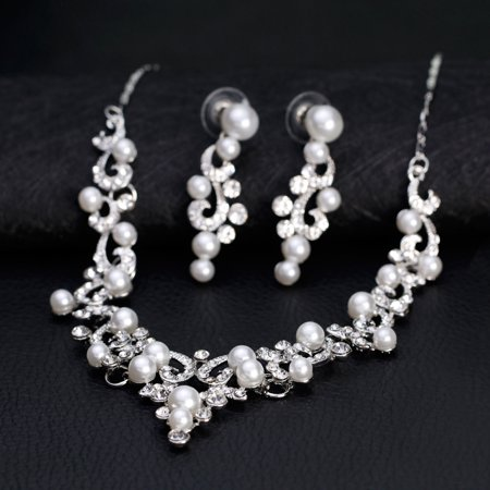 Women Girls Jewelry Set Pearl Rhinestone Pendant Necklace + Earring Eardrop for Banquet Wedding Valentine's Day Gift - image 5 of 8