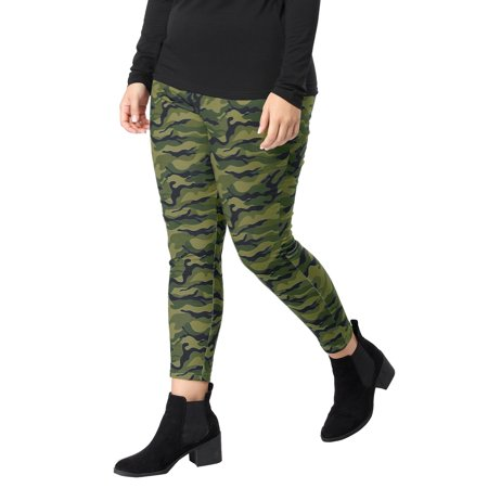 Women Plus Size Elastic Waist Stretch Camouflage Skinny Leggings Green 1X - image 3 of 7