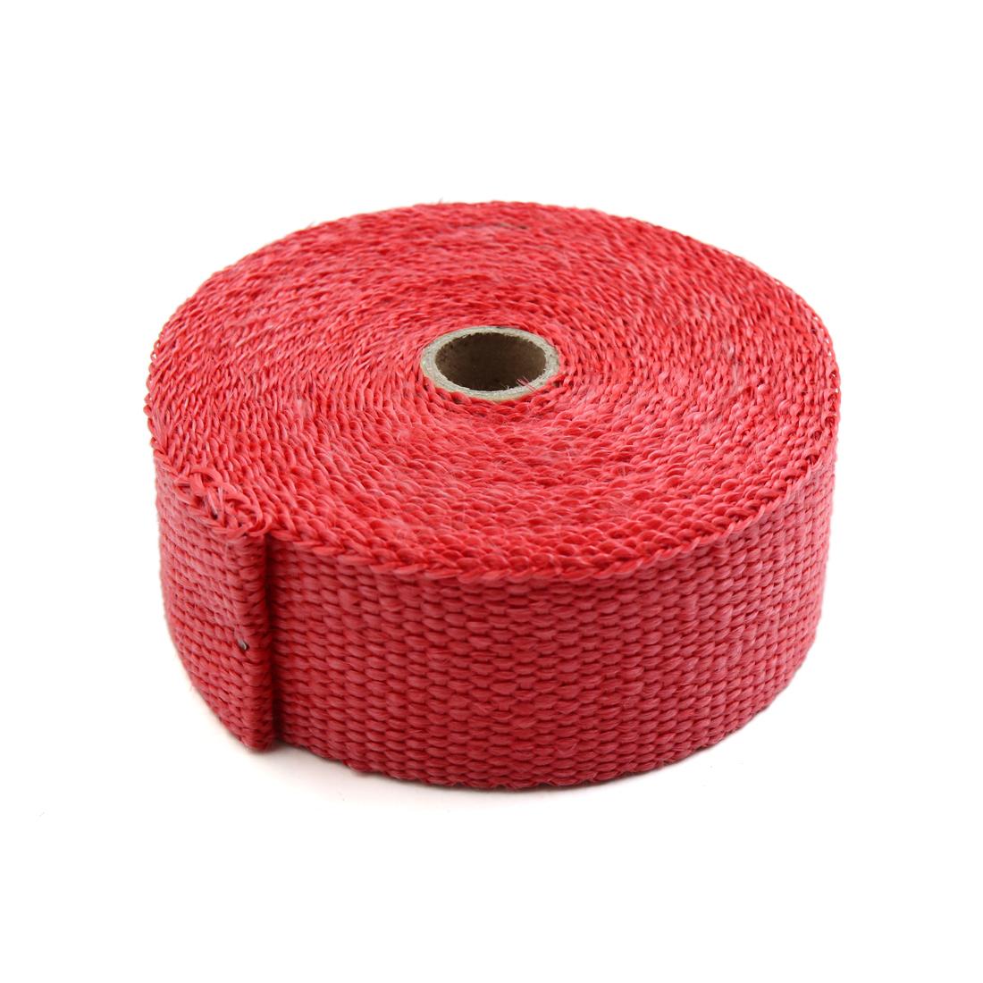 Red 10M Length Fiberglass Cloth Car Exhaust Pipe Heat Insulation Wrap Tape - image 2 de 2