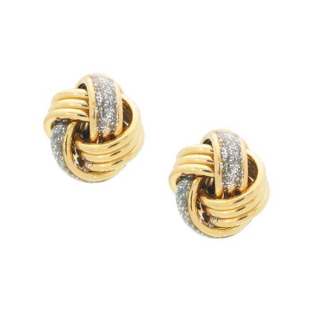 Grande Gold Plated Sterling Silver Thick Dazzling Love Knot Post Earrings Except Grande Post