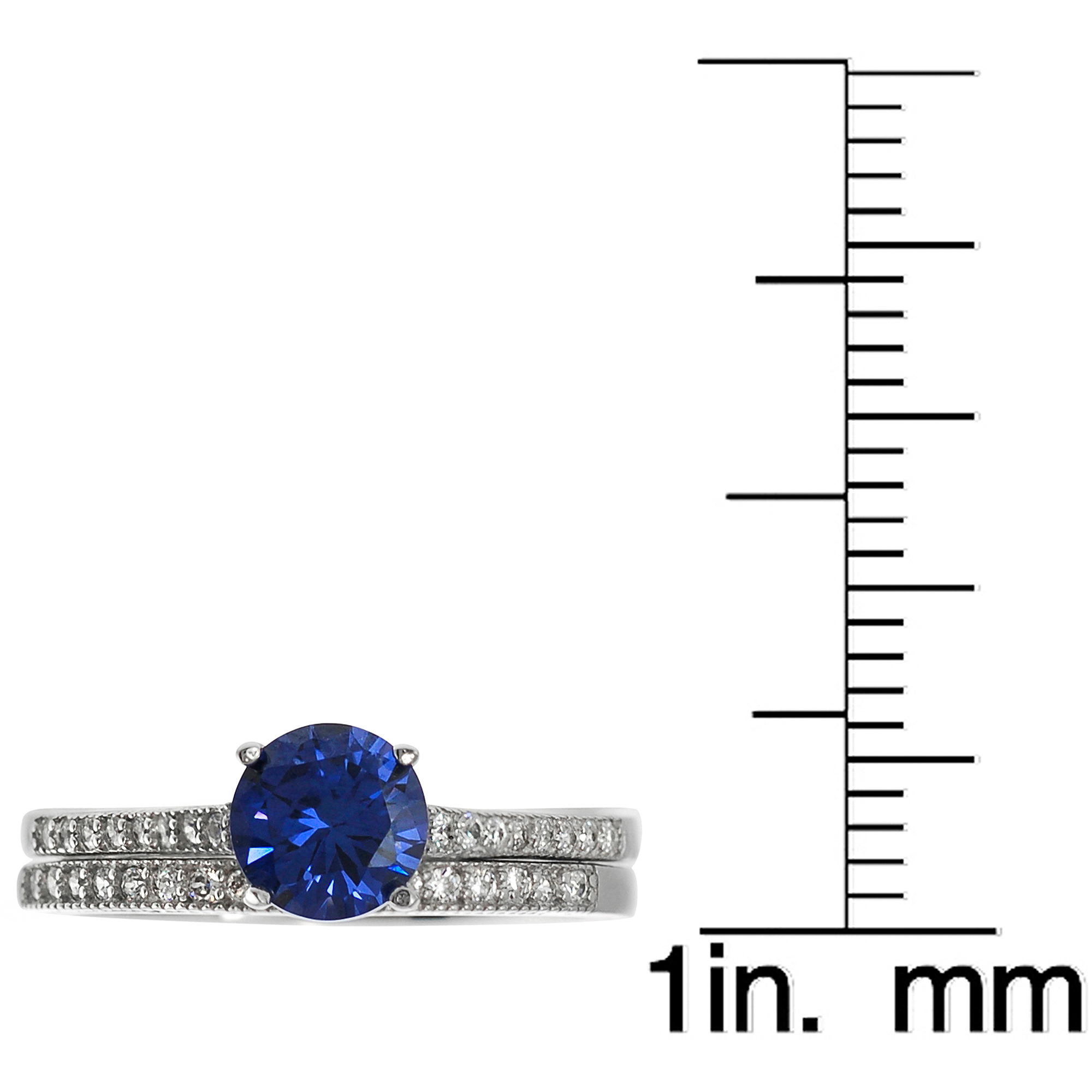 Alexandria Collection Sterling Silver Round Blue Cubic Zirconia Bridal Ring Set
