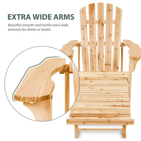 iCaber Deluxe Oversized Reclining Adirondack Chair with Pullout Ottoman, Powder White - Looks Like Wood | All Weather Waterproof Material | Poly Resin Adirondack | Lounge Chair Outdoor ()