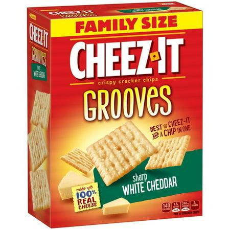 Cheez-It Grooves Sharp White Cheddar Crispy Cracker Chips Family Size, 17 Oz.