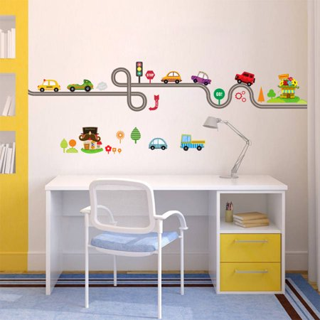 Cartoon Car Vinyl Wall Sticker For Kids Rooms Home Sofa Background Art Decal