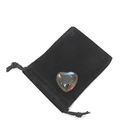 - Zentron Crystal Collection: Smoky Quartz 30MM All Natural Gemstone Crystal Puff Heart and Velvet Pouch