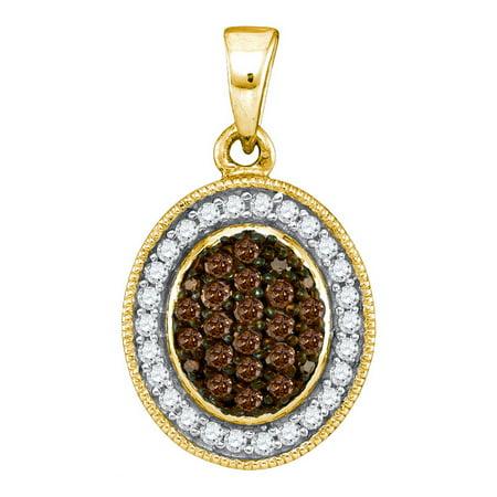 10K Yellow Gold 0.35ctw Glamorous Brown Diamond Fashion Micro Pave Oval Pendant