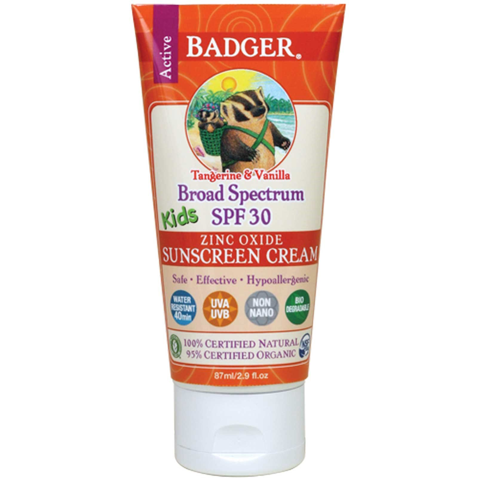 Badger Company, Active Kids, Zinc Oxide Sunscreen Cream, SPF 30, Tangerine & Vanilla, 2.9 fl oz (pack of 6)