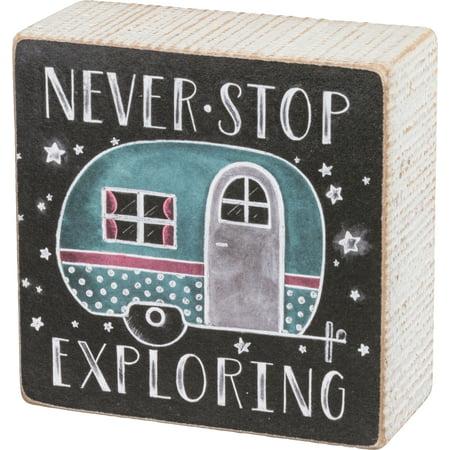 Never Stop Exploring Camper Chalk Wood Box Sign 4