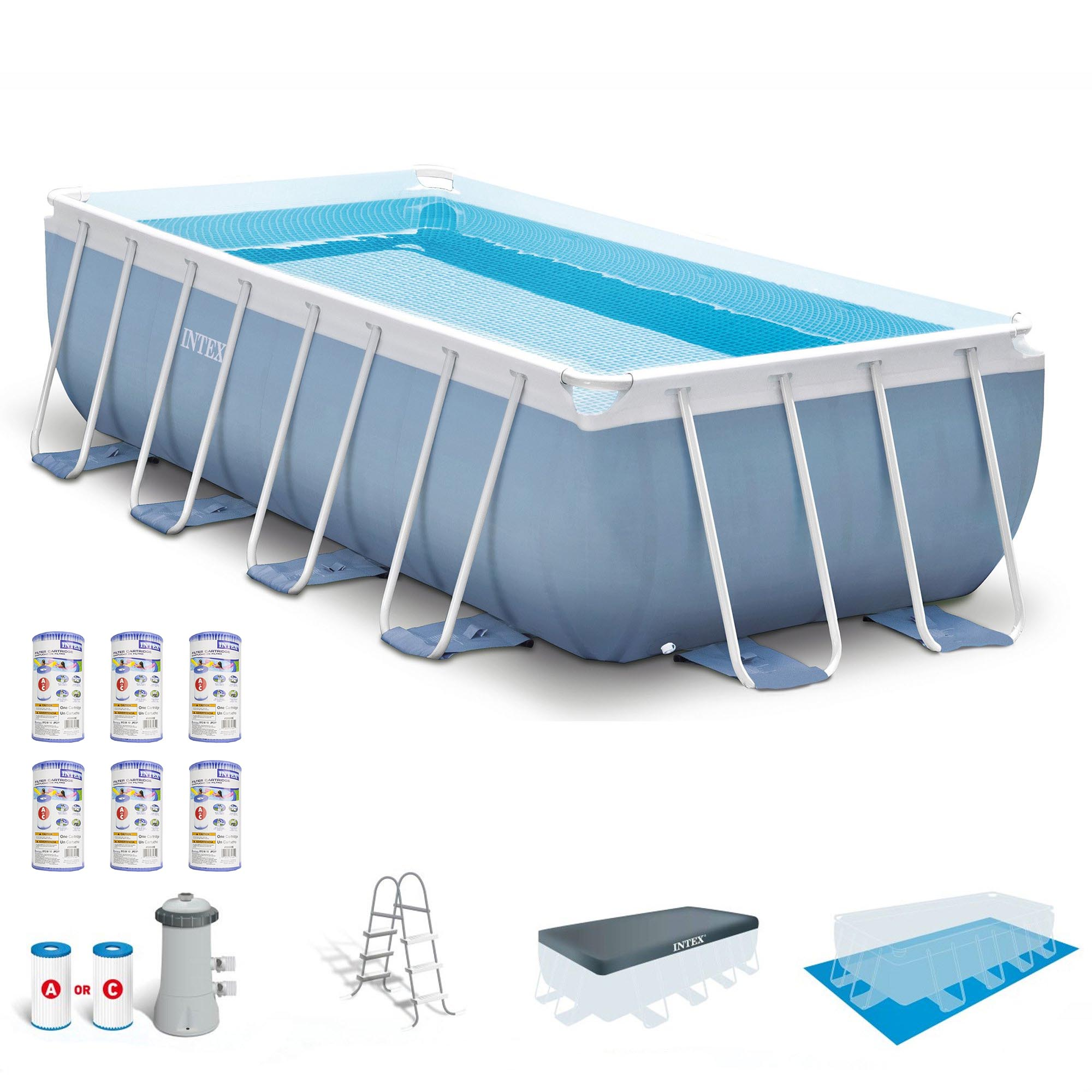 "Intex 16' x 8' x 42"" Prism Frame Above Ground Pool Set w/ Filter Pump Cartridges"