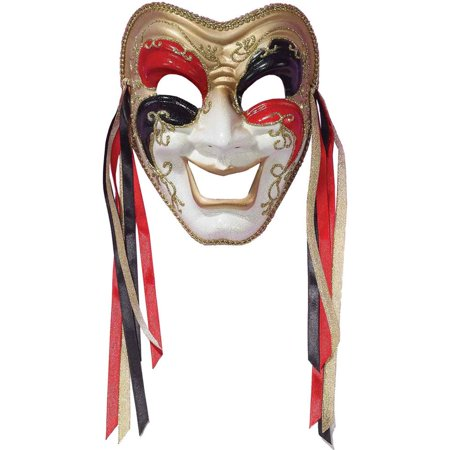New Halloween Costume Unisex Happy Face Red Black Gold Comedy Theatrical Mask - Happy Halloween Face Painting
