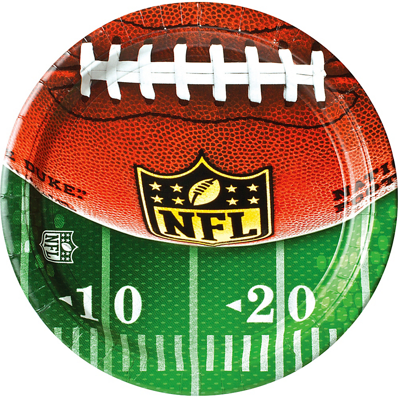 "Amscan NFL Drive Football Party 10"" Dinner Plates, Green White Brown, 8 CT"