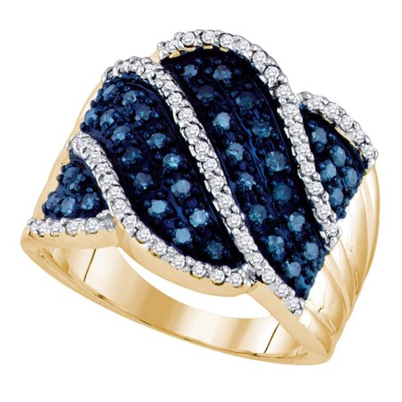 Blue Diamond Cocktail Ring Solid 10k Yellow Gold Wide Fashion Band Wave Design Stripes Fancy 3/4 ctw