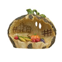 "6.5"" Carved Pumpkin Country Scene with Corn and Fruit Thanksgiving Tabletop Decoration"