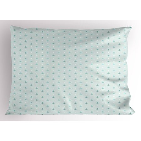 Anchor Pillow Sham Small Cute Anchors And Little Hearts Romantic Holiday Vacation Ocean Theme  Decorative Standard Queen Size Printed Pillowcase  30 X 20 Inches  Baby Blue Teal White  By Ambesonne