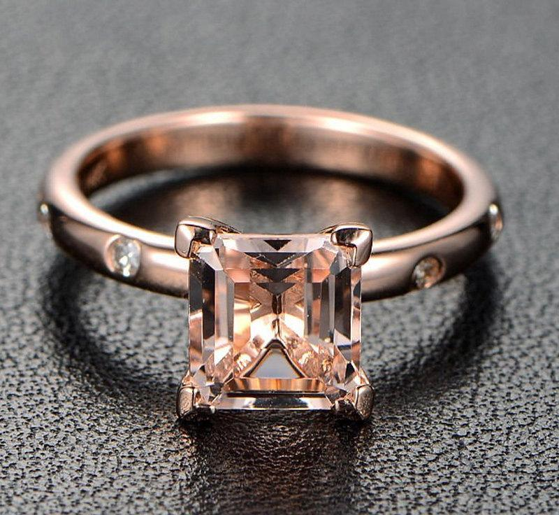 Limited Time Sale: 1.10 Carat Peach Pink Morganite (princess cut Morganite) and Diamond Engagement Ring in 10k Rose Gold by JeenJewels