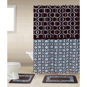 Marion Brown & Blue 15-Piece Bathroom Accessory Set: 2 Bath Mats, Shower Curtain & 12 Fabric Covered Rings