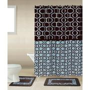 Marion Brown Blue 15 Piece Bathroom Accessory Set 2 Bath Mats Shower