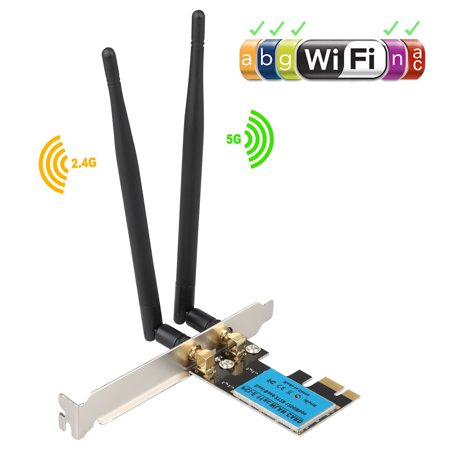 WiFi Card,Wireless Network Card, TSV Wireless Wifi Dual Band Gigabit Adapter, AC 1200 Mbps with High-gain Antenna Bluetooth 4.0 PCI-E Wireless Wifi Network Adapter for PC/Gaming