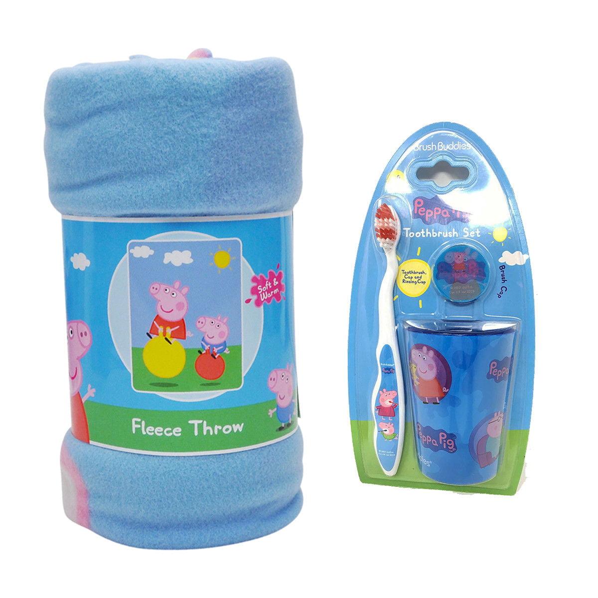 "Kids Peppa Pig Bounce Fleece Throw Blanket 45""x60"" & Toothbrush Set"