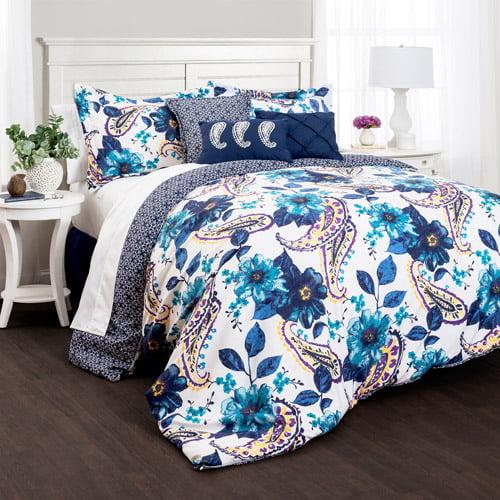 Floral Paisley Comforters Blue 7-Piece Set