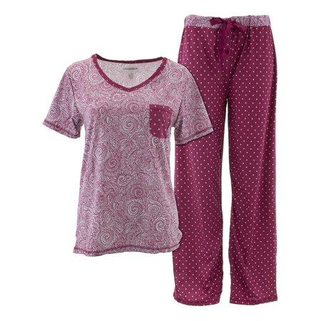 Sag Harbor Women's Burgundy Paisley Pajamas