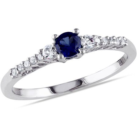 (Tangelo 1/3 Carat T.G.W. Created Blue Sapphire and Diamond Accent Sterling Silver Promise Ring)