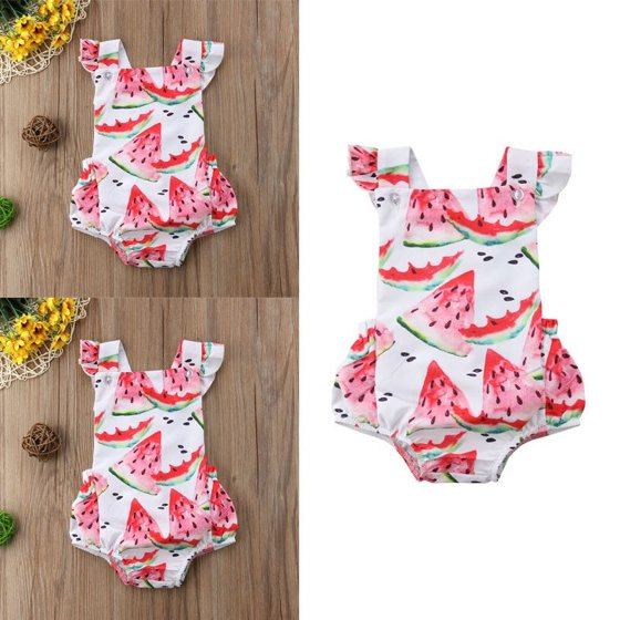 8897f1dfe0c9 Emmababy - Toddler Infant Baby Girl Kids Watermelon Romper Jumpsuit  Bodysuit Flying Sleeves Dress Clothes Summer - Walmart.com