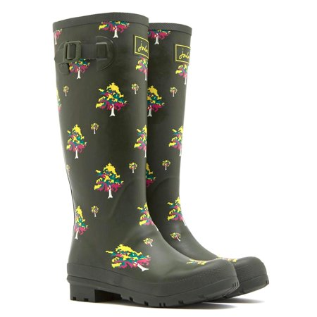 JOULES WELLY DESIGN WOMEN'S TALL RAIN BOOTS GREEN TREES US 10 EU (10 Welly)