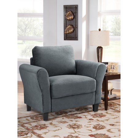 Lifestyle Solutions Alexa Rolled Arm Chair, Upholstered Fabric in Dark Gray
