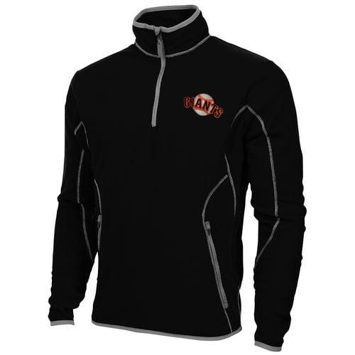 Antigua San Francisco Giants Ice Polar Fleece Quarter Zip Pullover Jacket Black by