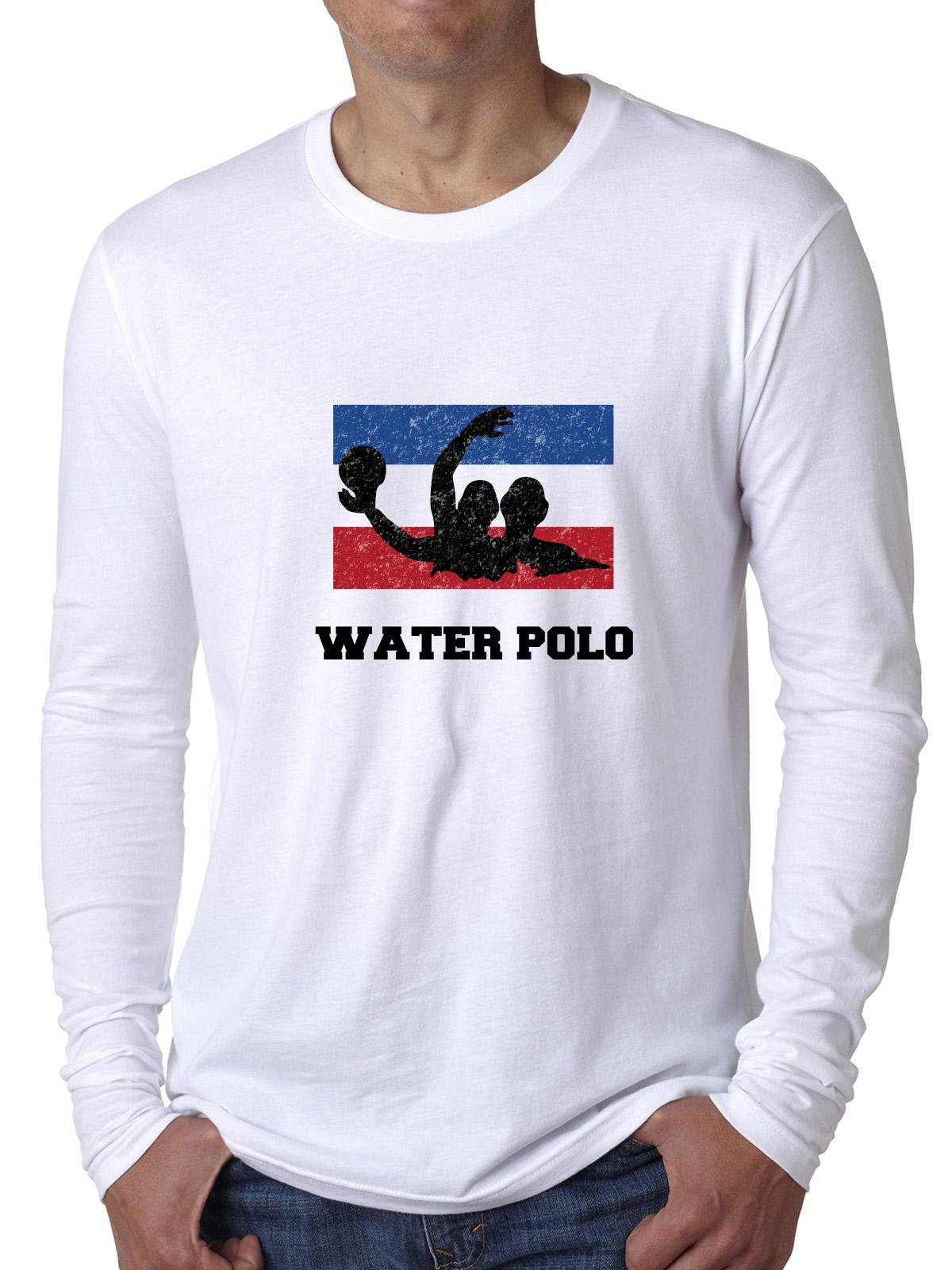 Netherlands Olympic Water Polo Flag Silhouette Men's Long Sleeve T-Shirt by Hollywood Thread