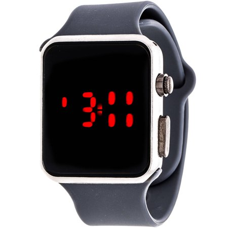LED Digital Watch, Grey Rubber Strap
