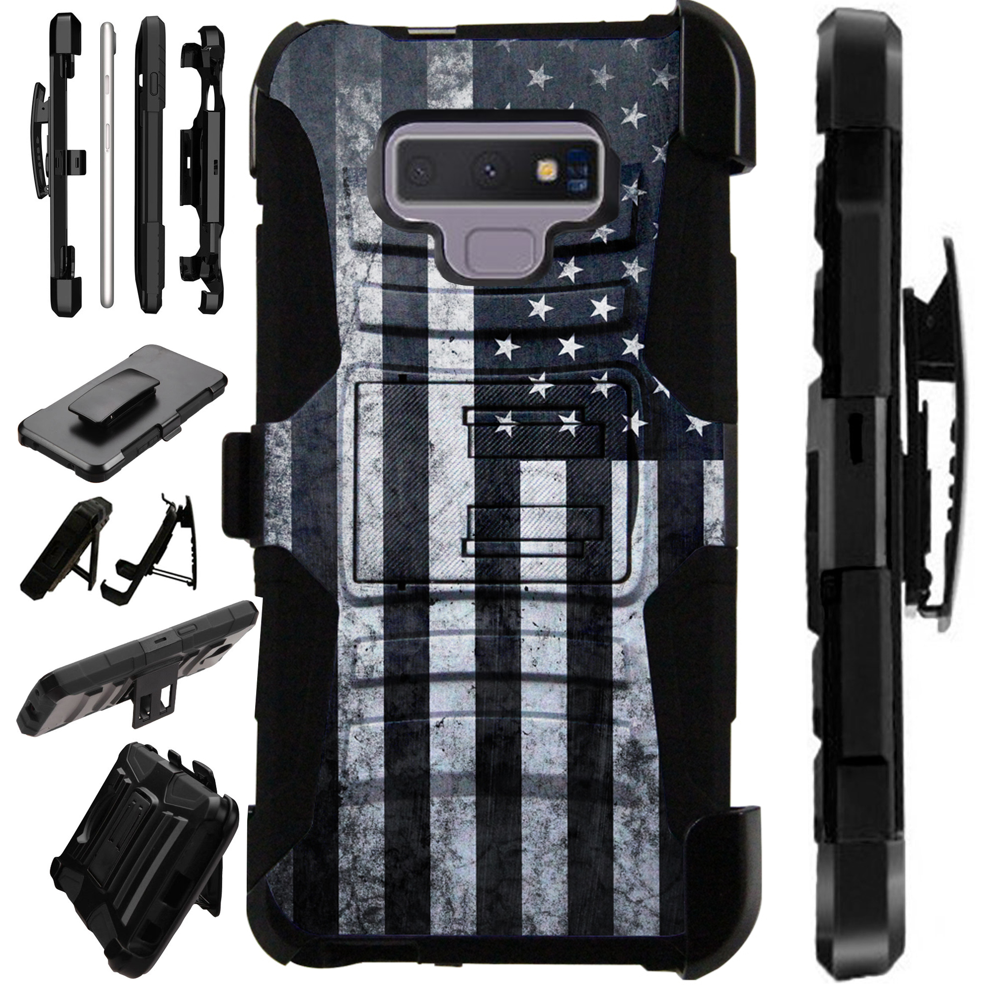 For Samsung Galaxy Note 9 Case Armor Hybrid Silicone Cover Stand LuxGuard Holster (Gray US Flag)