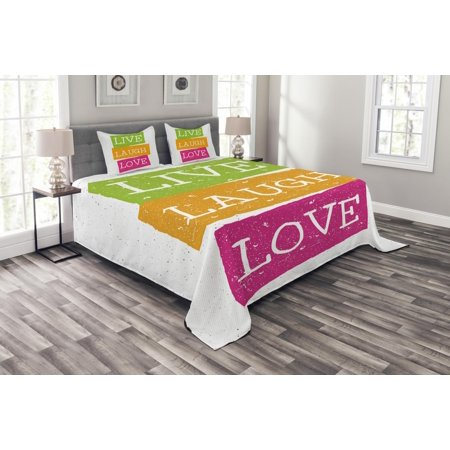 Live Laugh Love Bedspread Set Lifestyle Message In