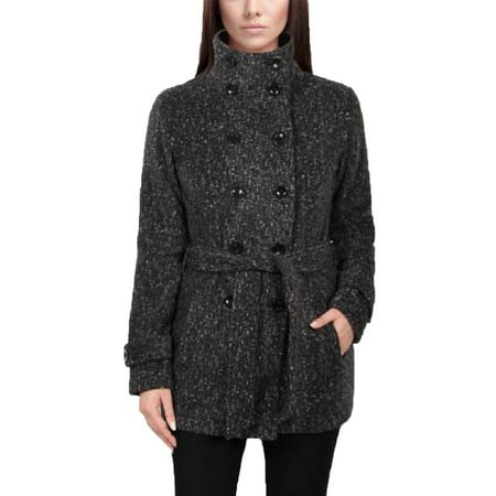 Ike Behar Women's Double Breasted Fleece Belted Coat (Small, Charcoal Peppered)