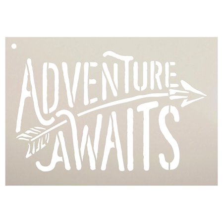 adventure awaits stencil by studior12 rustic curved word art