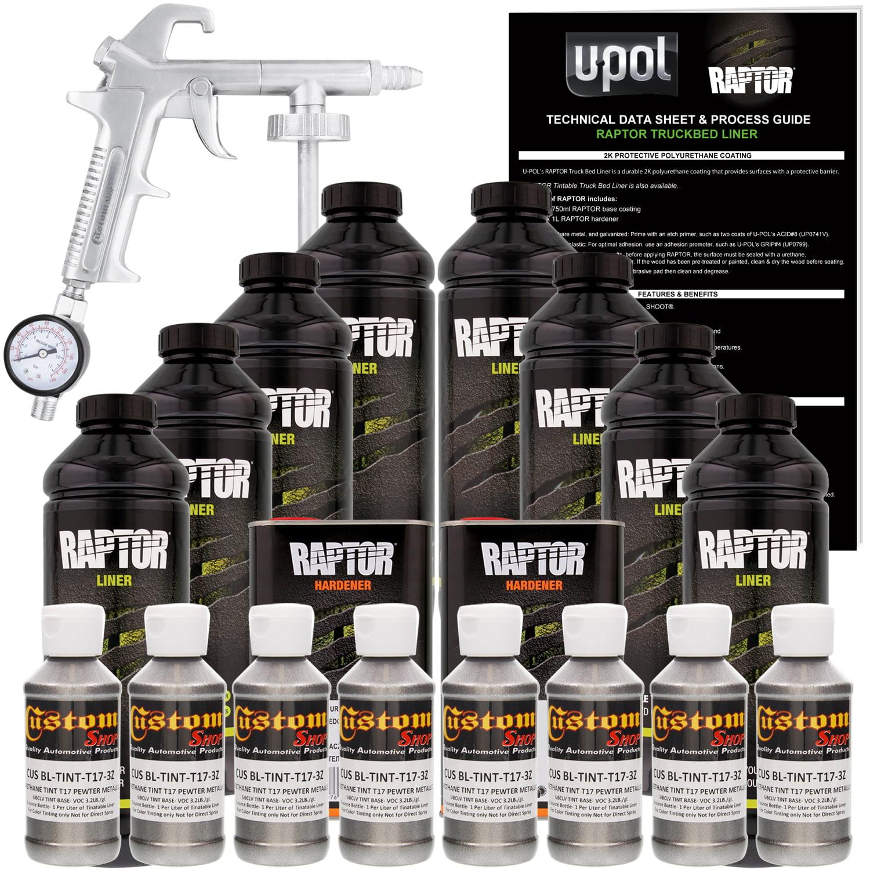 U-POL Raptor Pewter Metallic Urethane Spray-On Truck Bed Liner Kit w/ FREE Custom Coat Spray Gun w/ Regulator, 8 Liters