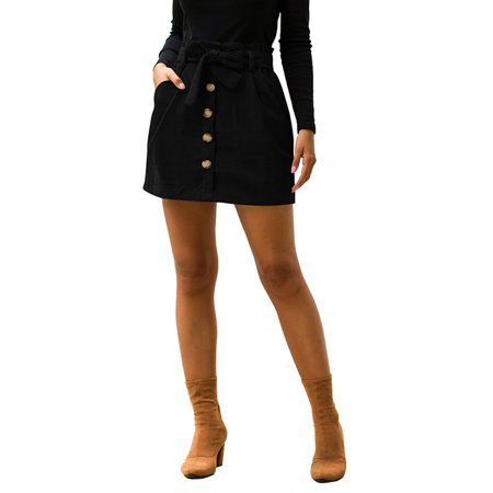 Women Corduroy Skirt Spring Autumn Vintage Harajuku Loose A-line Female Knee- Length Skirt High Waist Button Lady Faldas