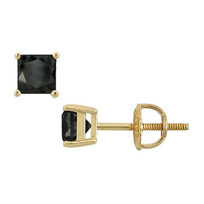 Fine Jewelry Vault UBER14YGSQ150BD 14K Yellow Gold- Princess Cut Black Diamond Stud Earrings - 1. 50 CT.  TW.