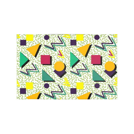 MKHERT Geometric Pattern in Retro 80s Style Memphis Abstract Modern Placemats Table Mats for Dining Room Kitchen Table Decoration 12x18 inch,Set of 4](80s Table Decorations)