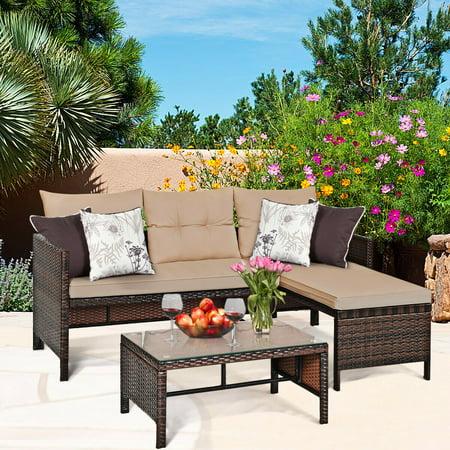 Costway 3PCS Patio Wicker Rattan Sofa Set Outdoor Sectional Conversation Set Garden Lawn - image 9 of 9