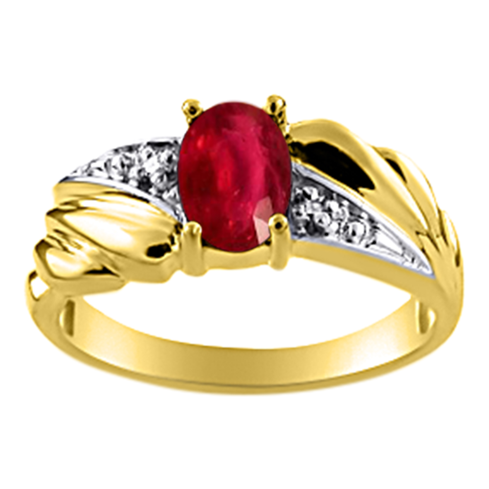 Womens Ruby & Diamond Ring 14K Yellow Gold by Elie Int.