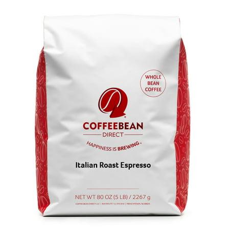 Coffee Bean Direct Dark Roast Whole Bean Espresso, Original, 80 Oz