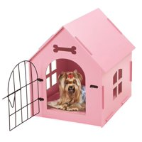 Portable Indoor Pet House Bed Wood Dog House, with Door And Window, Indoor Kennel for Small Dogs,Cats, Pet With Bed Mat -Pink