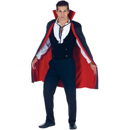 Black and Red Cape Adult Halloween Accessory - Black And Red Cape