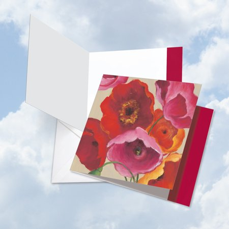 JQ4548ABDG Square-Top Extra Large Birthday Greeting Card: 'Painted Poppies' Featuring a Bold and Vibrant Image of Colorful Poppy Flowers Greeting Card with Envelope by The Best Card Company ()