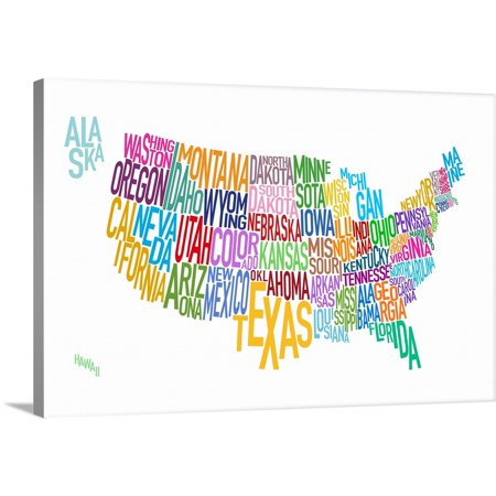 Great BIG Canvas | Michael Tompsett Premium Thick-Wrap Canvas entitled Map of USA showing State names in