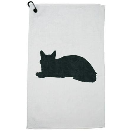 Somali Cat Golf Towel with Carabiner Clip