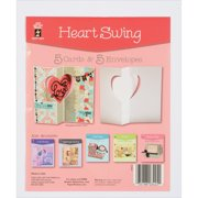 Hot Off The Press Die-Cut Cards W/Envelopes 5/Pkg-Heart Swing