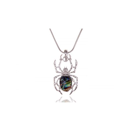 Fashion Women Spider Insect Bugs Silver Crystal Rhinestone Pendant Necklace ()